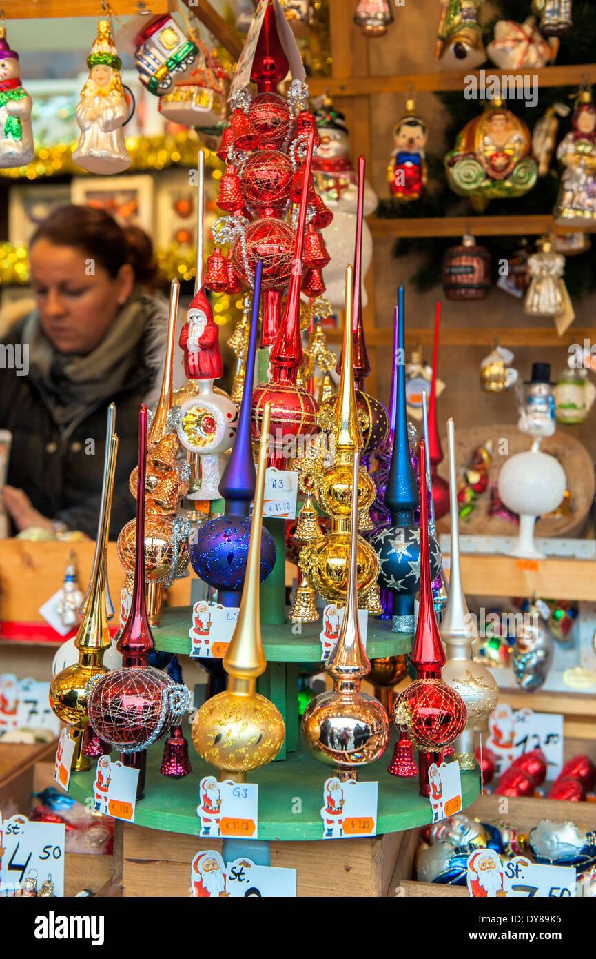 Glass Christmas Tree Topper Ornaments At Christmas Market Nuremberg