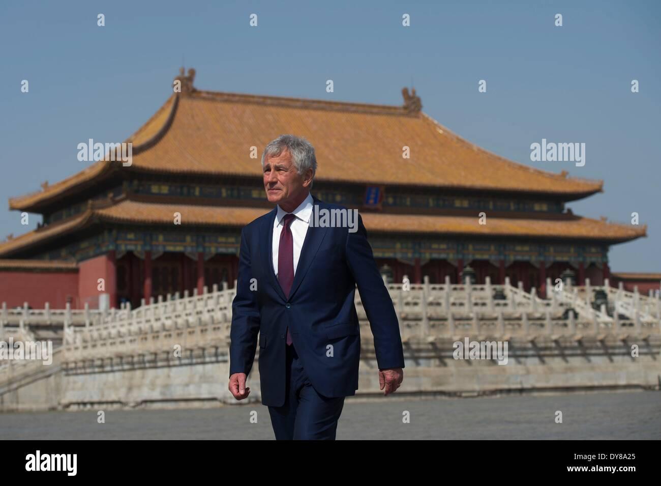 US Secretary of Defense Chuck Hagel tours the Forbidden City April 9, 2014 in Beijing, China. Stock Photo