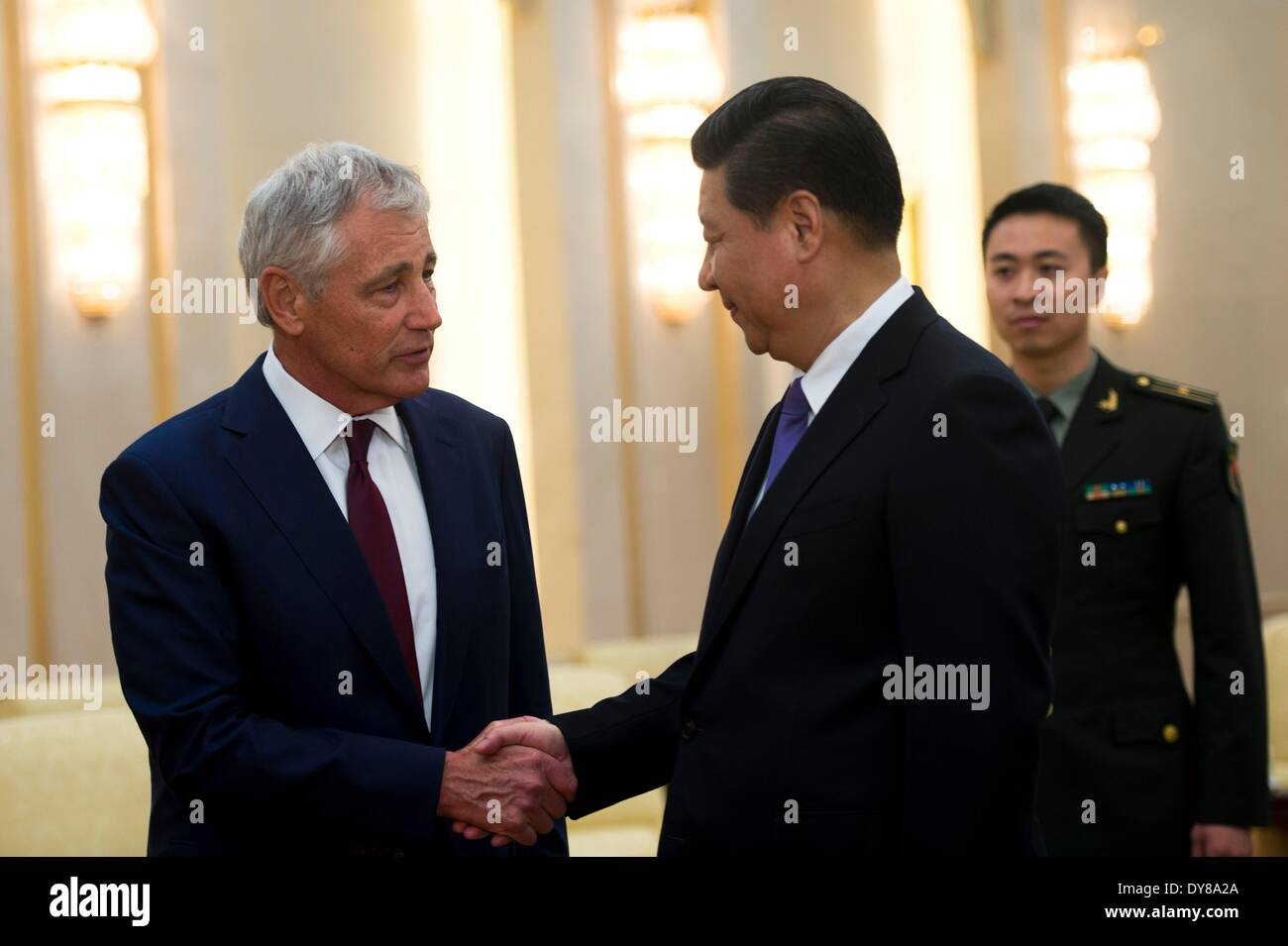 US Secretary of Defense Chuck Hagel meets with Chinese President Xi Jinping at the Great Hall of the People April Stock Photo
