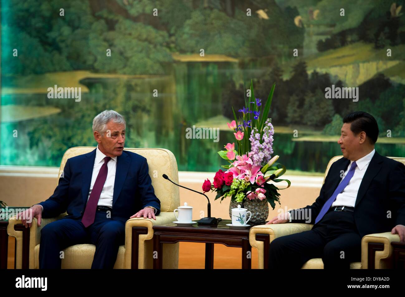 US Secretary of Defense Chuck Hagel meets with Chinese President Xi Jinping at the Great Hall of the People April 9, 2014 in Beijing, China. - Stock Image