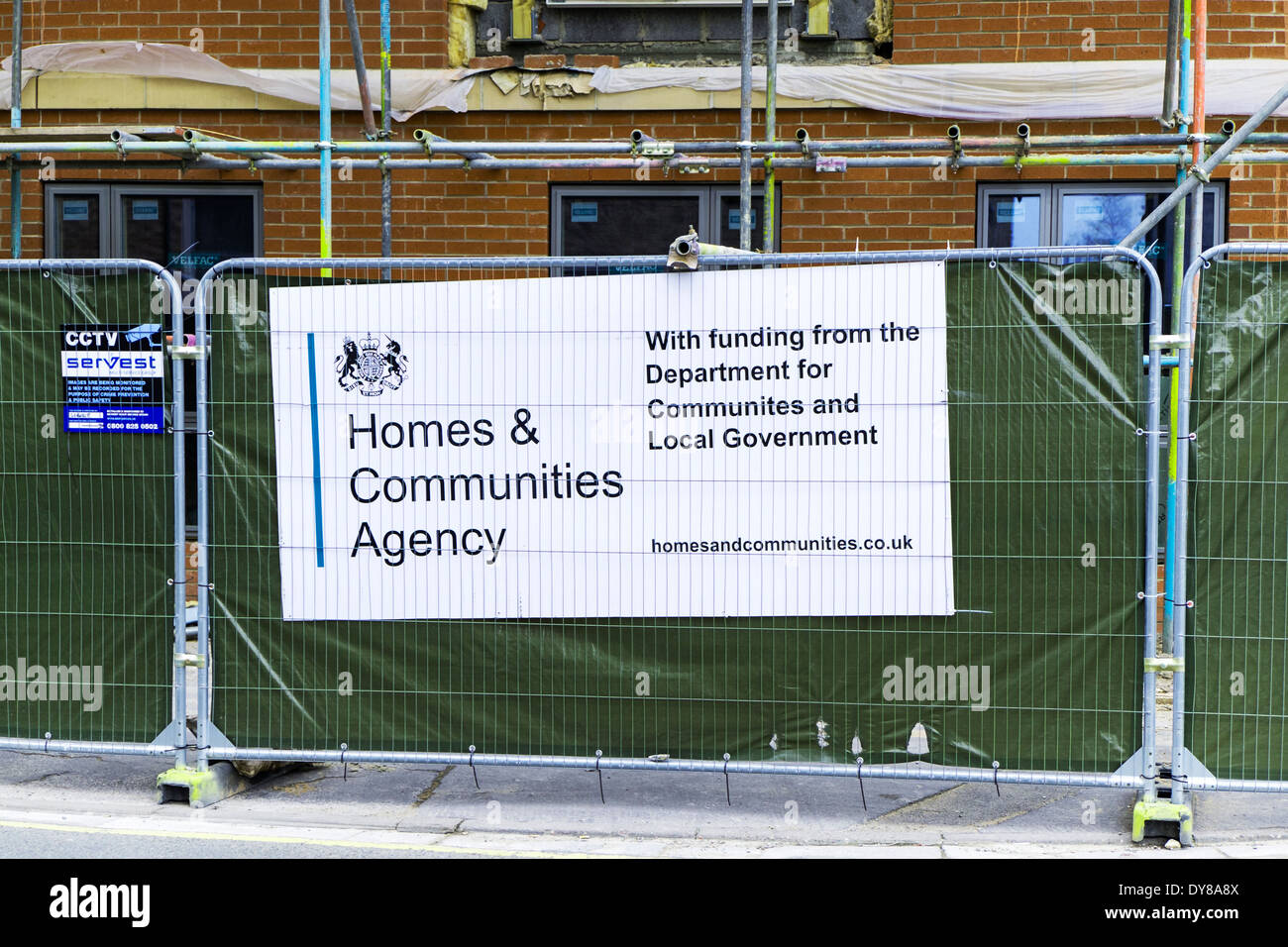 Homes and communities agency sign funding from local government department Lincoln City Lincolnshire UK GB England - Stock Image