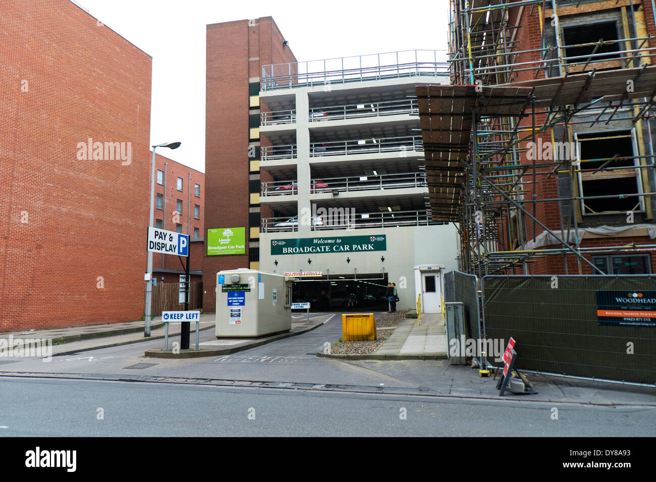 Broadgate multi-storey car park Lincoln City Lincolnshire outside exterior facade front pay and display UK GB England - Stock Image