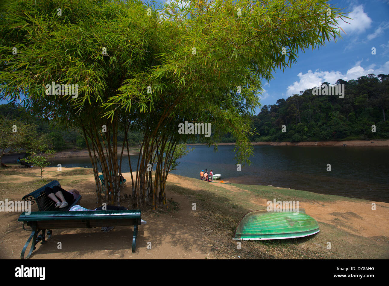The serene lake at Gavi and beautiful Periyar reserve in the backdrop - Stock Image