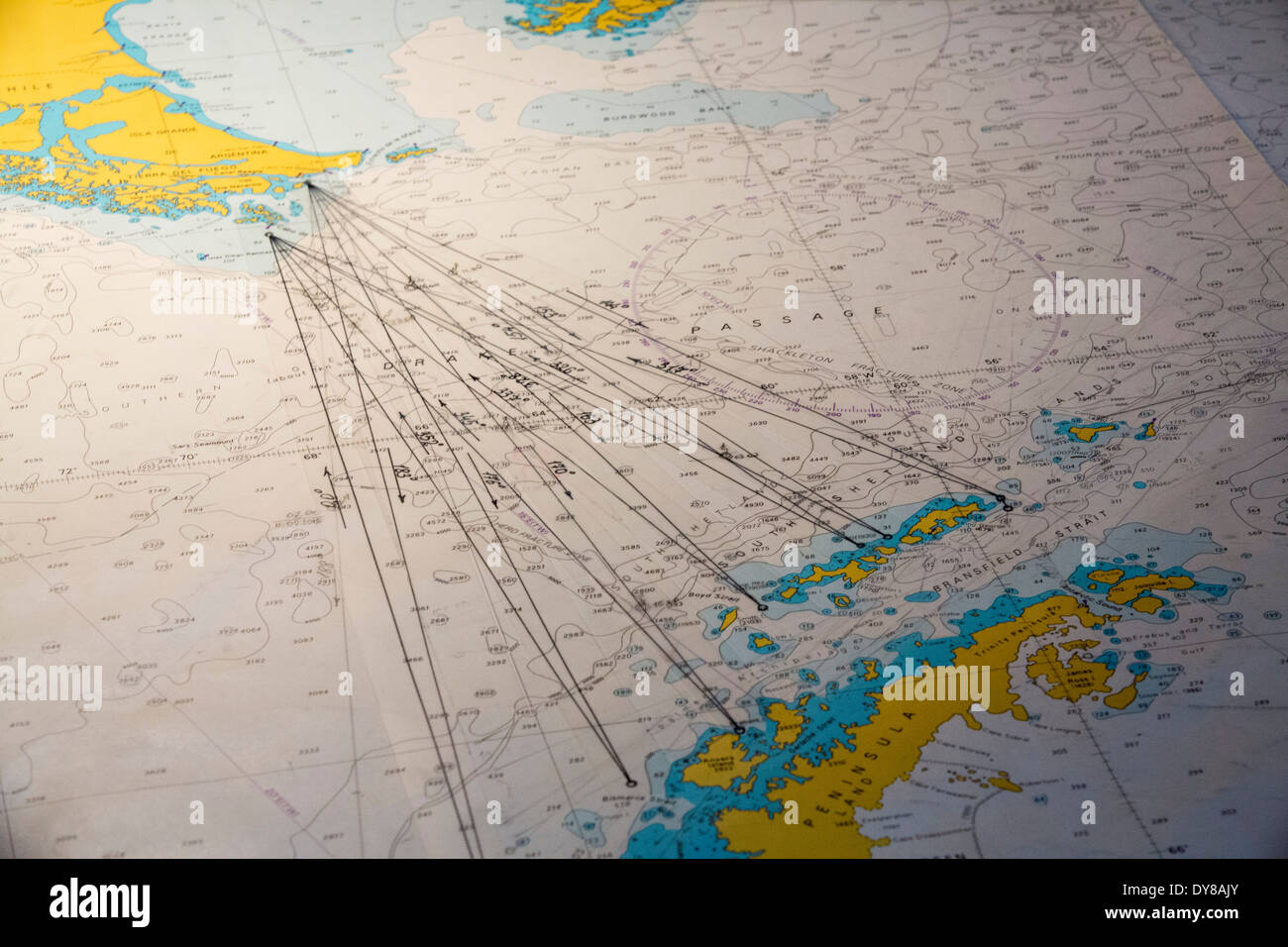 A marine chart plotting the course of the Akademik Sergey Vavilov, an ice strengthened ship on an expedition cruise - Stock Image