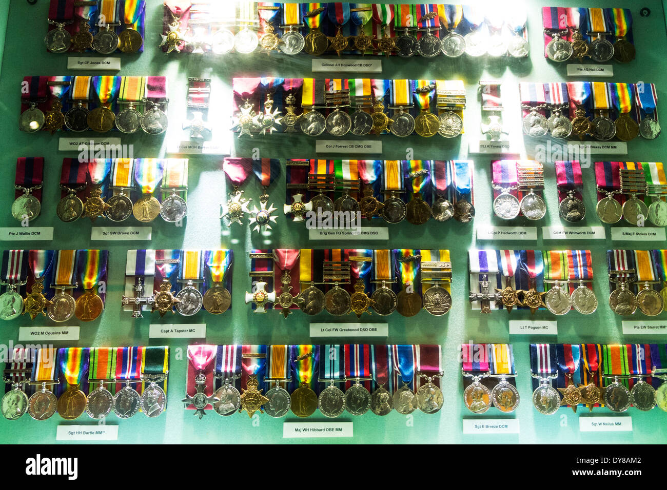 Medal Display Cabinet OBE MBE DCM DSO MC Military Cross Lincoln City  Lincolnshire UK GB England