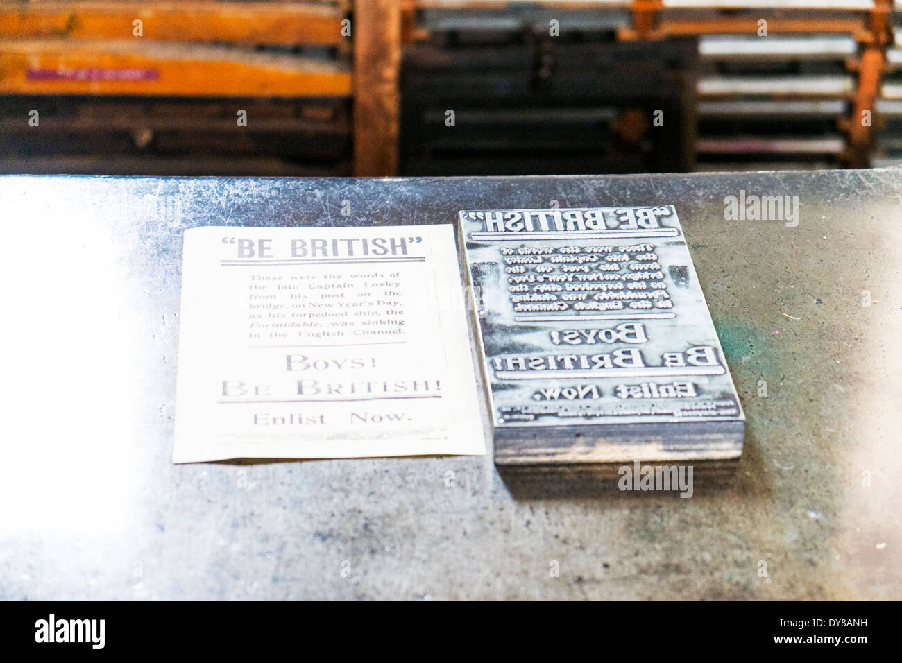 Victorian printing block printed paper Lincoln City Lincolnshire UK GB England - Stock Image
