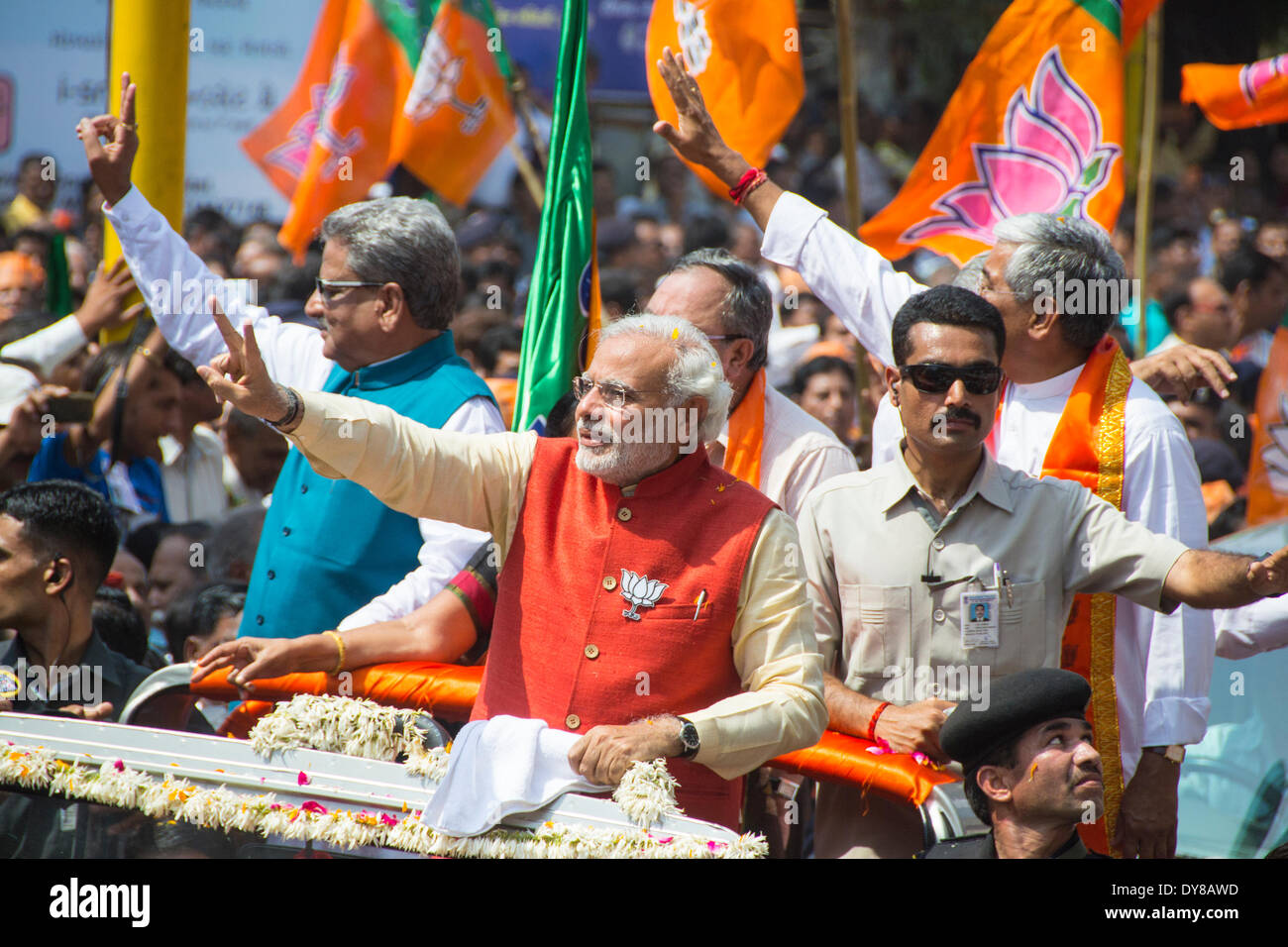 9th April 2014.  Gujarat Chief Minister and BJP prime ministerial candidate Narendra Modi filed his nomination papers from Vadodara Lok Sabha seat amid tight security this morning. Mr Modi, who is seeking his maiden entry in Parliament, filed his nomination papers at around 1120 hrs in presence of senior party leaders and a large number of supporters Credit:  Nisarg Images/Alamy Live News - Stock Image