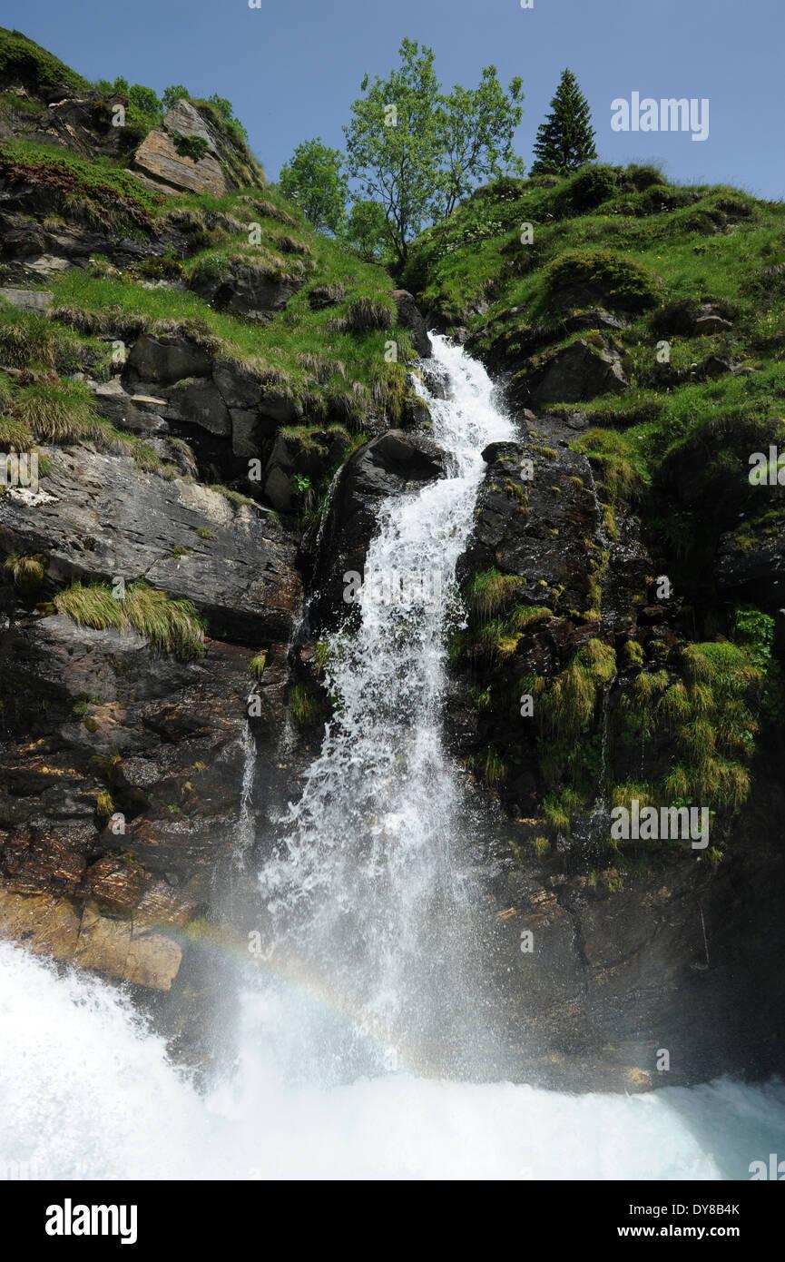 Switzerland, Ticino, Ritom, Piora, waterfall, rock, cliff, Stock Photo