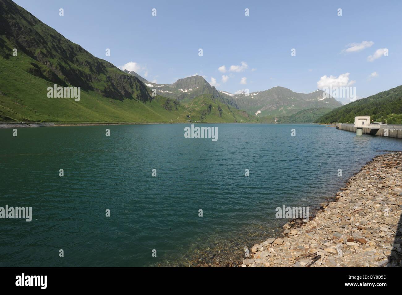 Switzerland, Ticino, Ritom, Piora, Quinto, lake, mountains Stock Photo