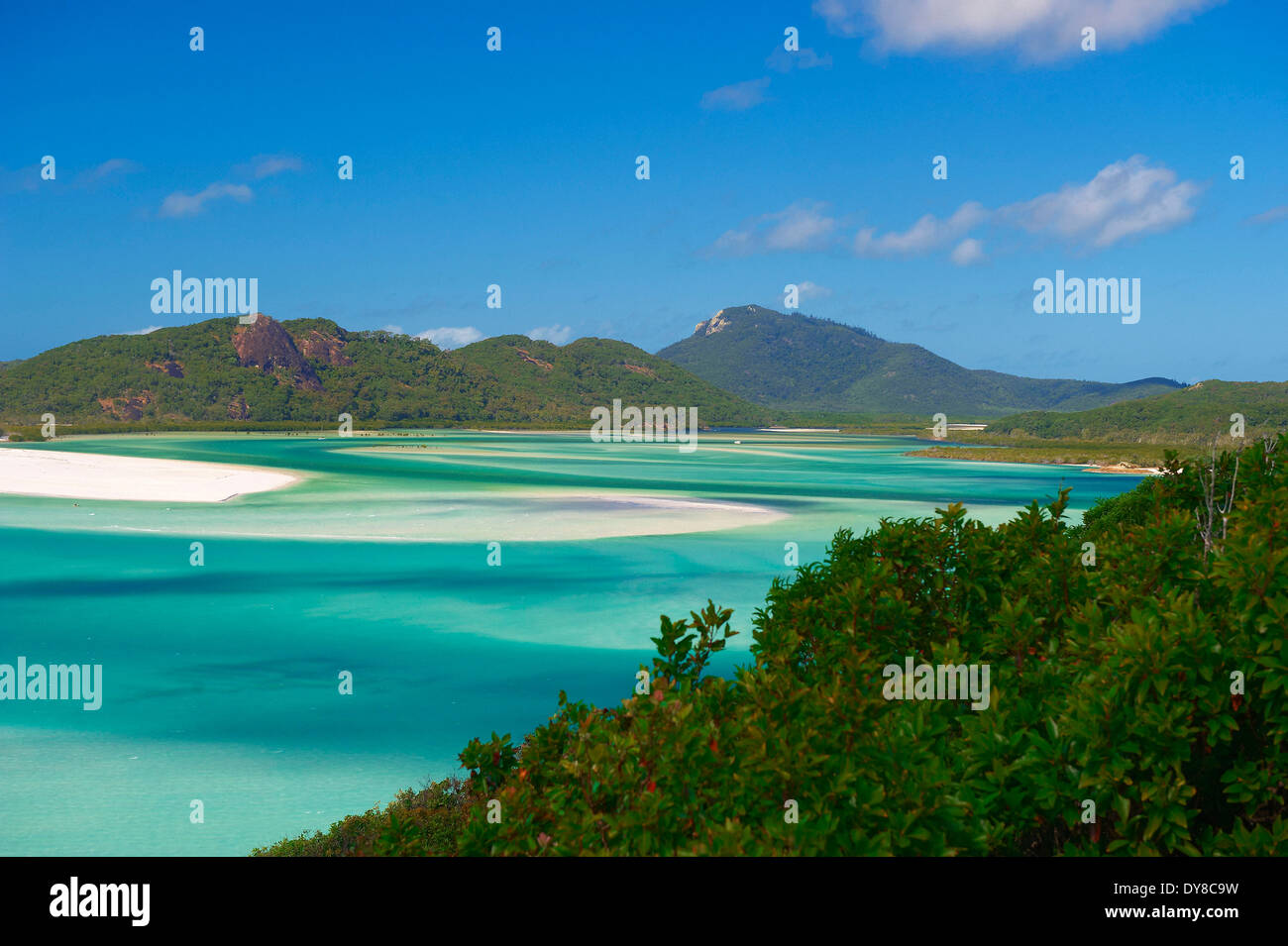 Rain Beach Emerald Coast Blue Sea Australia Ocean Summer: Whitsunday Australia Beach Stock Photos & Whitsunday