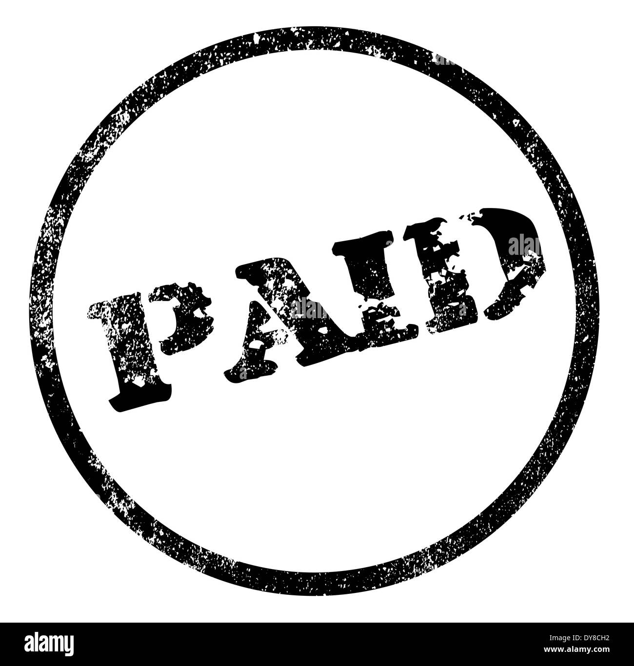 A Paid Rubber Stamp Impression Isolated Over White Background