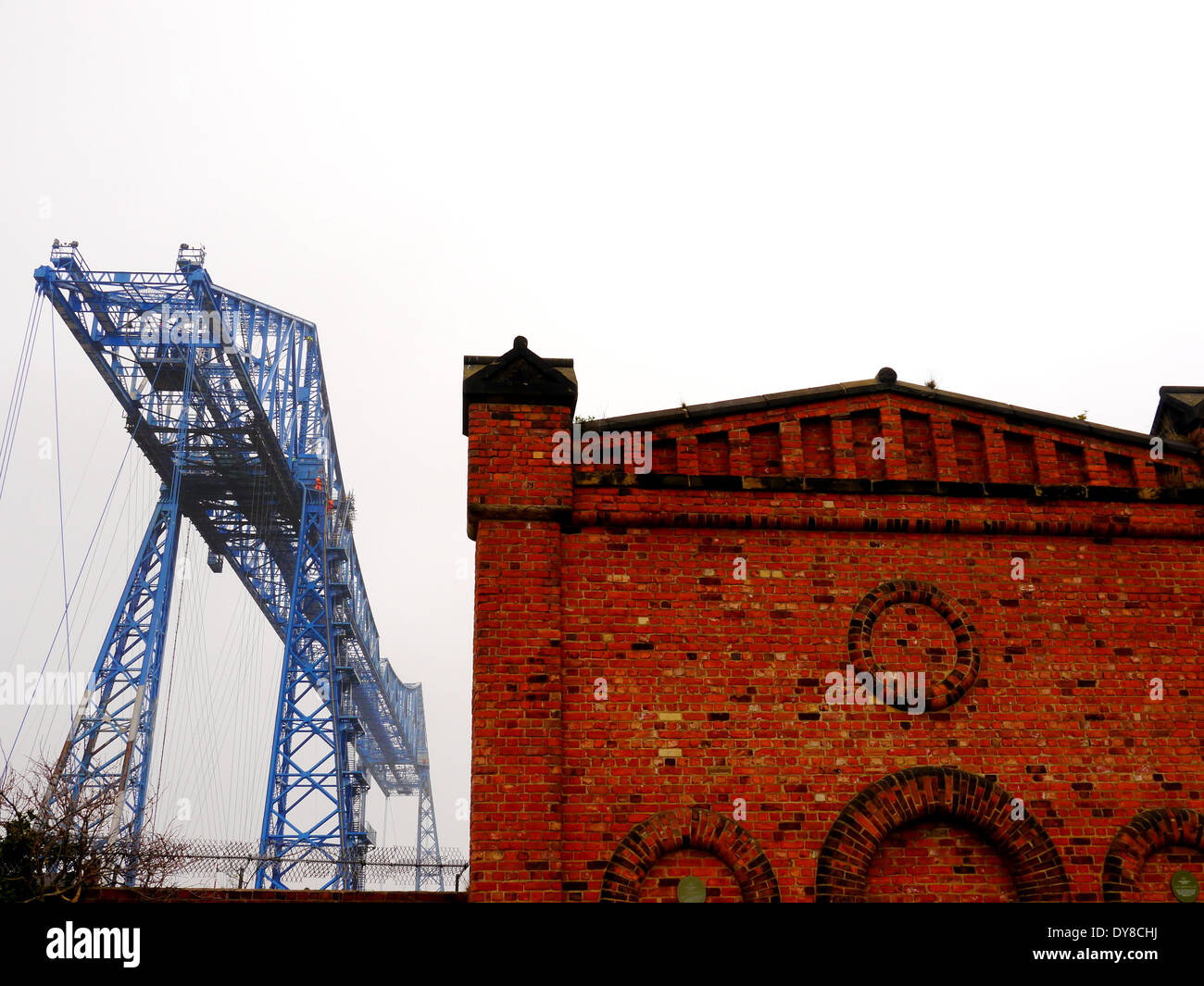 Historic Transporter Bridge spanning the River Tees at Middlehaven, Middlesbrough, Teesside, England, UK Stock Photo