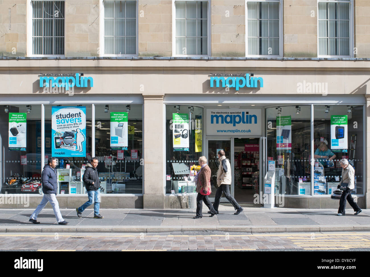 People walking past Maplin shop in Newcastle north east England UK - Stock Image