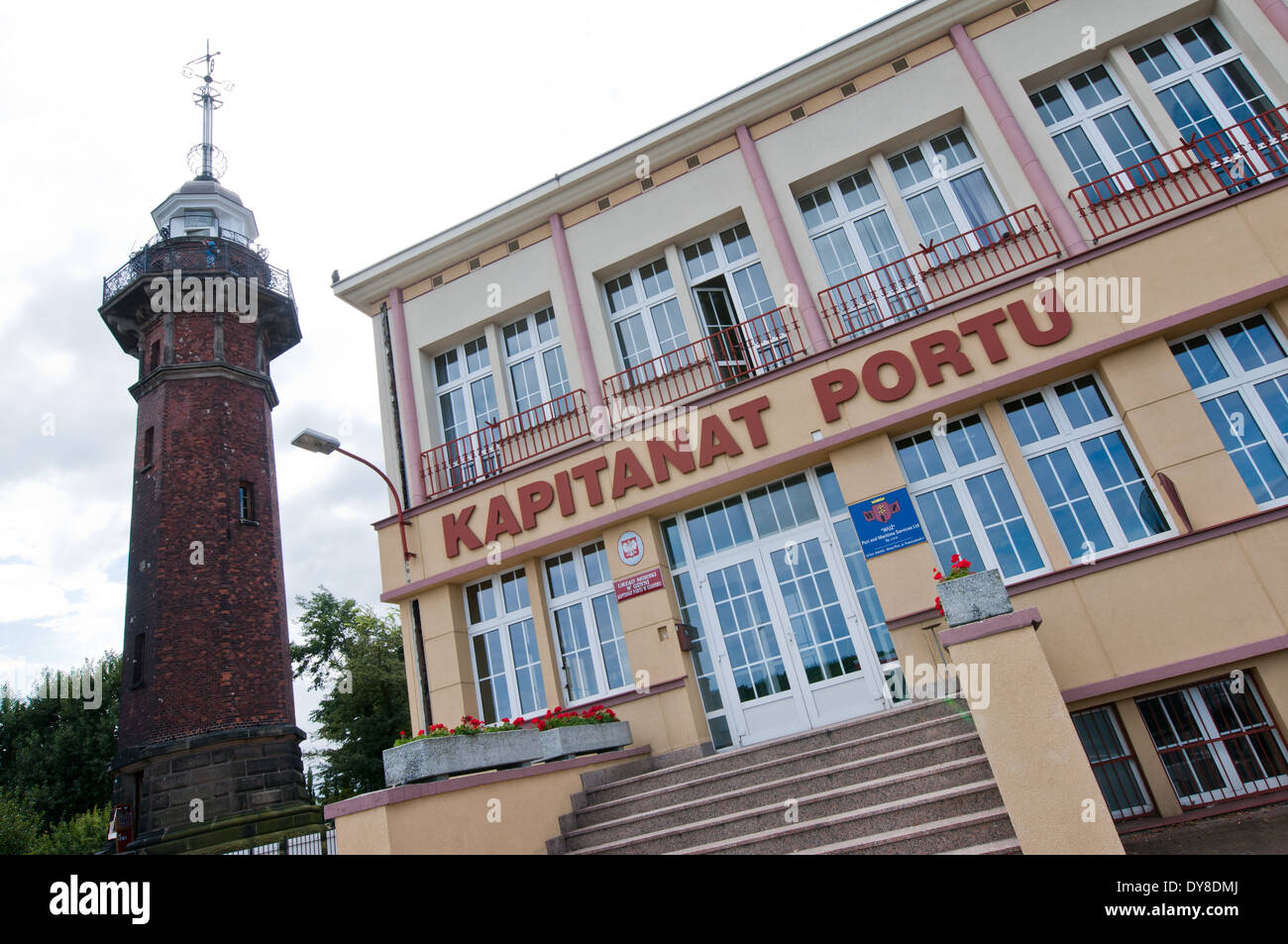 harbourmaster office and lighthouse in Baltic Sea harbour in Gdansk, Poland - Stock Image