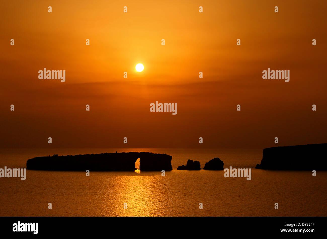 Sunset at the Navarino ('Pylos') bay, Messenia, Peloponnese, Greece. - Stock Image