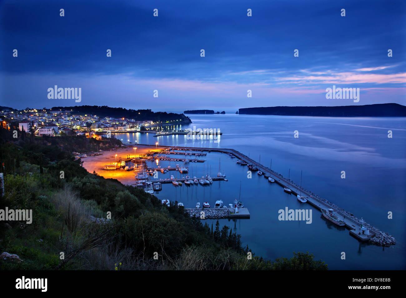 Early night view of Pylos ('Navarino') town & bay, Messenia, Peloponnese, Greece. - Stock Image