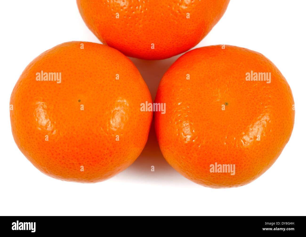 Satsuma oranges white background studio image - Stock Image