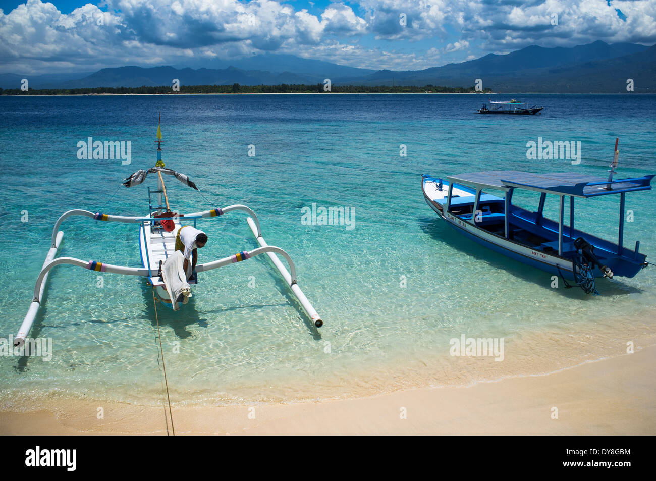 Boats moored at Gili Air, of Lombok, Indonesia, Asia - Stock Image