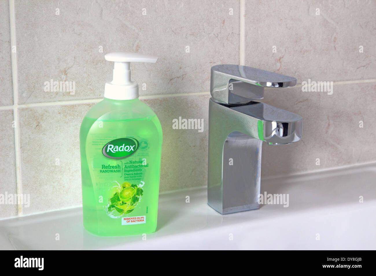 Radox Refresh Handwash Liquid Soap in a Bathroom Setting, UK - Stock Image