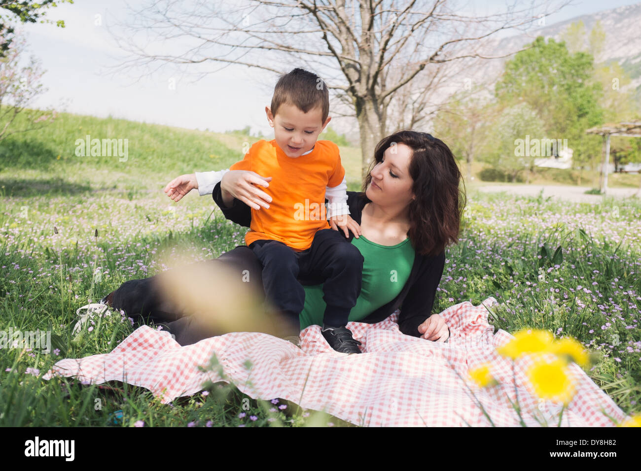 Mother and son on a blanket in nature - Stock Image