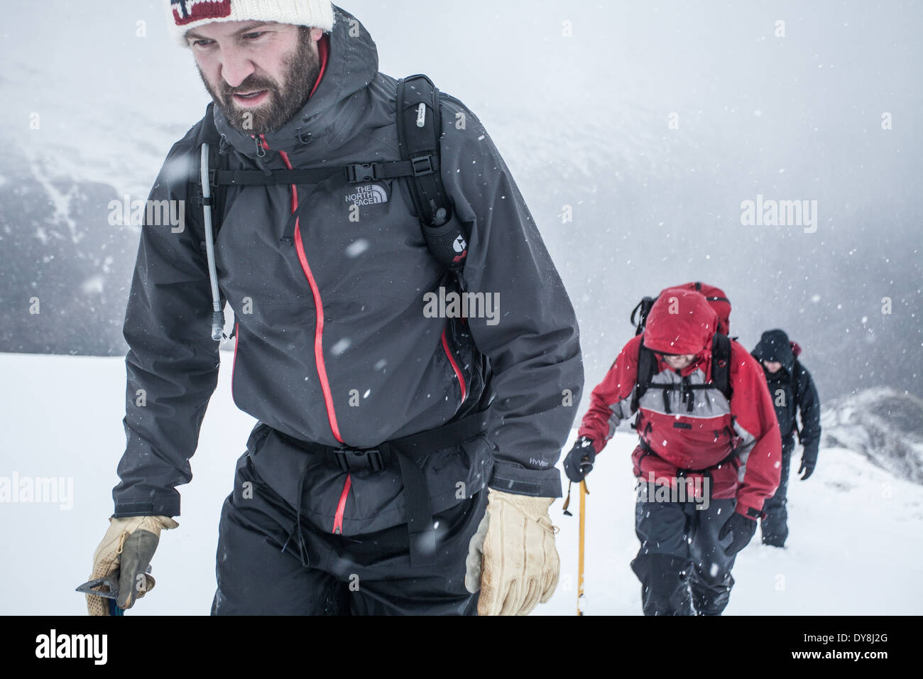 Winter mountaineering in the Scottish highlands - Stock Image