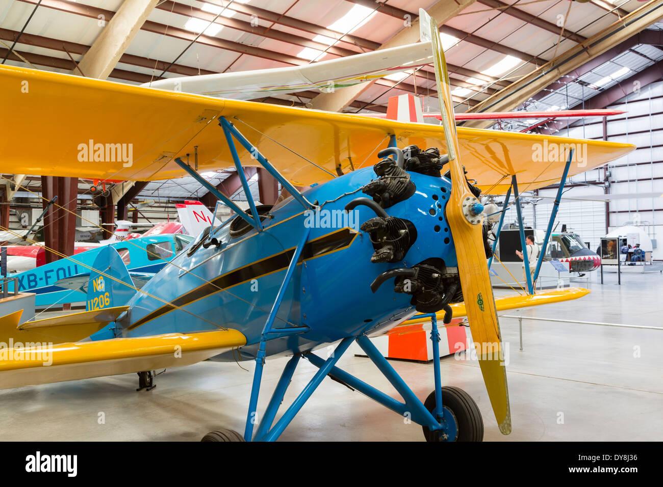 USA, Arizona, Tucson, Pima Air and Space Museum, Waco RNF, civil bi-plane. - Stock Image