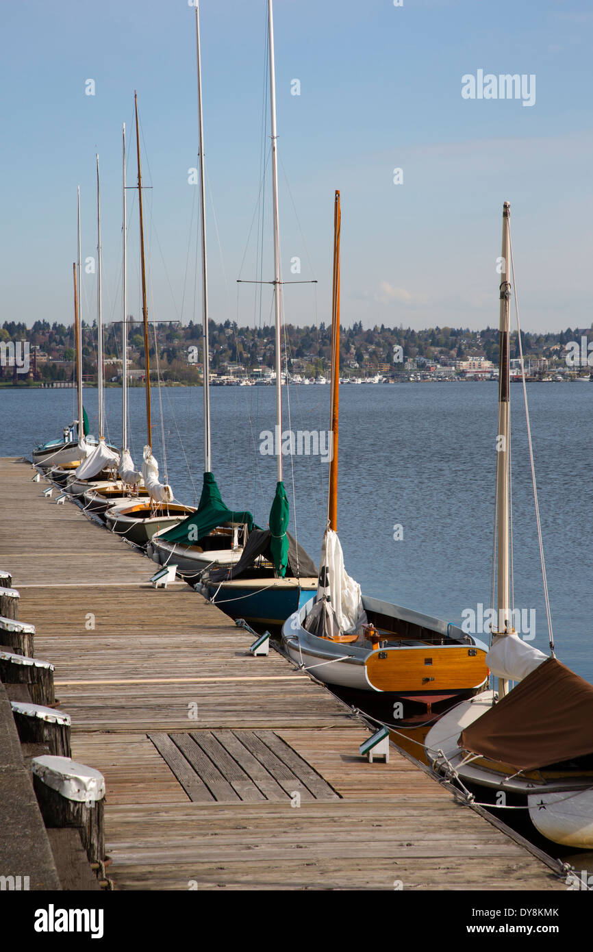 USA, Washington, Seattle, Center for Wooden Boats, on Lake Union. - Stock Image