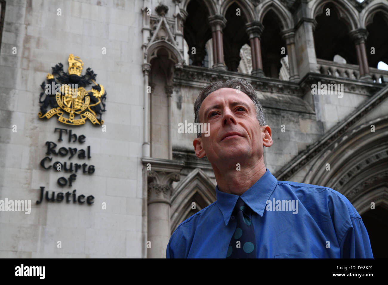 Peter Tatchell, Human Rights Campaigner, outside The Royal Courts of Justice in London, UK. - Stock Image