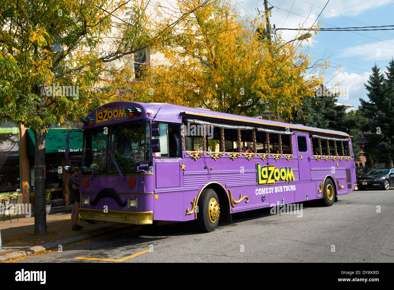 LaZoom Comedy Tour Bus in Asheville North Carolina - Stock Image