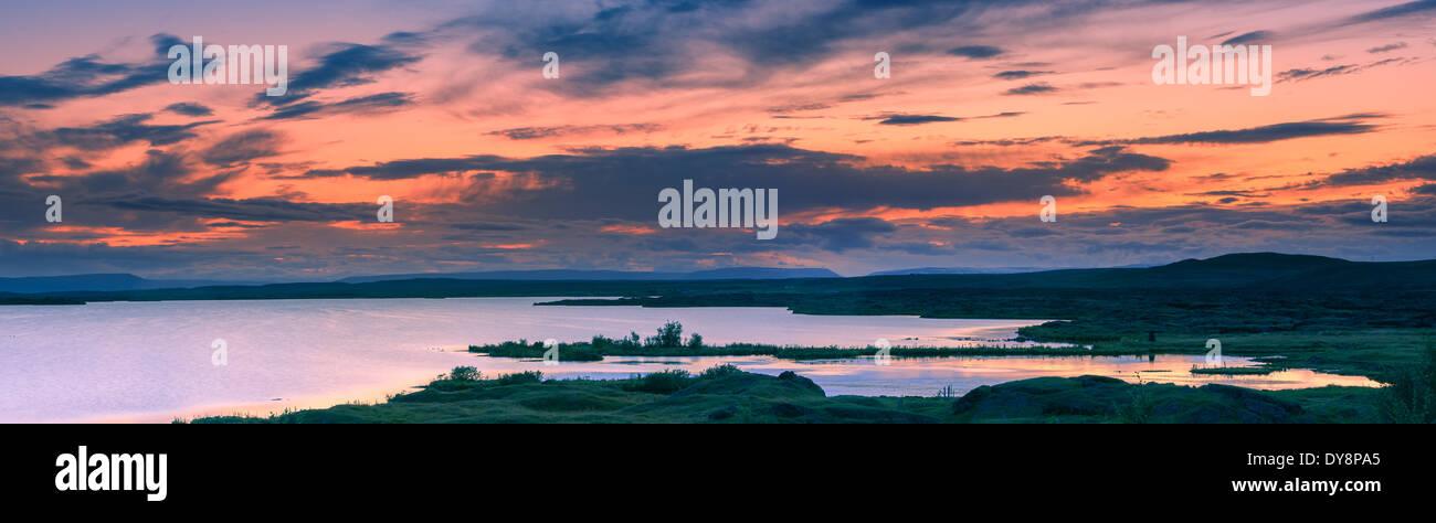 Sunset at lake Myvatn, Iceland - Stock Image
