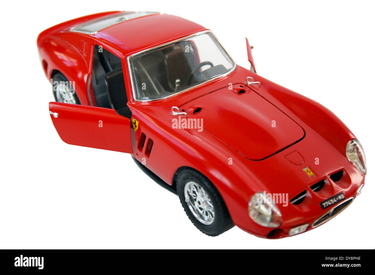 Ferrari GTO diecast 1962 model car by Burago isolated on a white background. - Stock Image