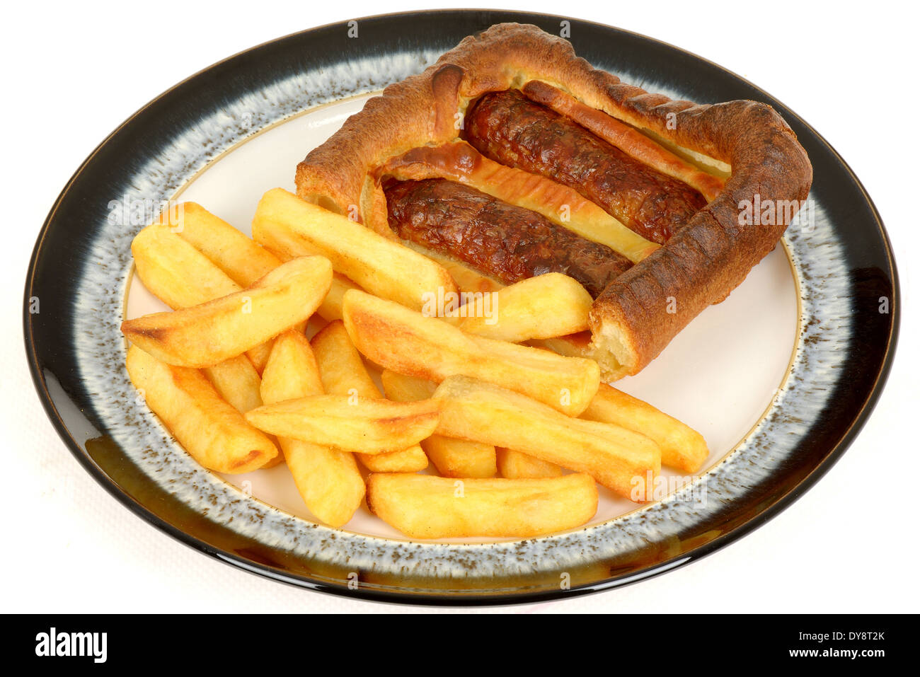 Sausage Toad in the Hole with Chips - Stock Image