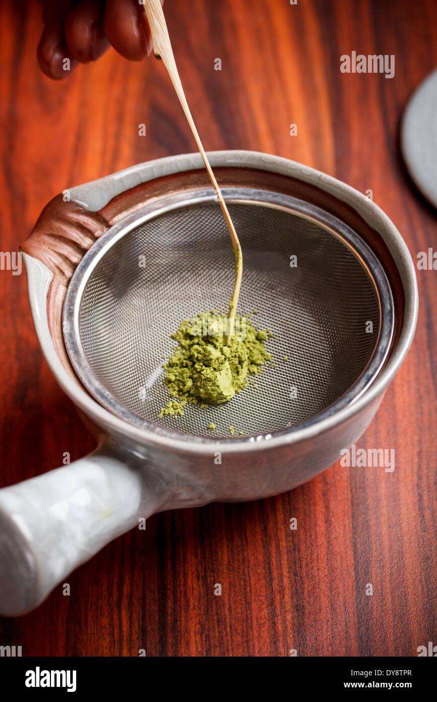 Tea master prepared matcha tea - Stock Image