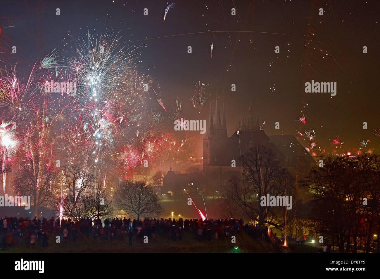New Year's Eve fireworks, Erfurt, Germany - Stock Image