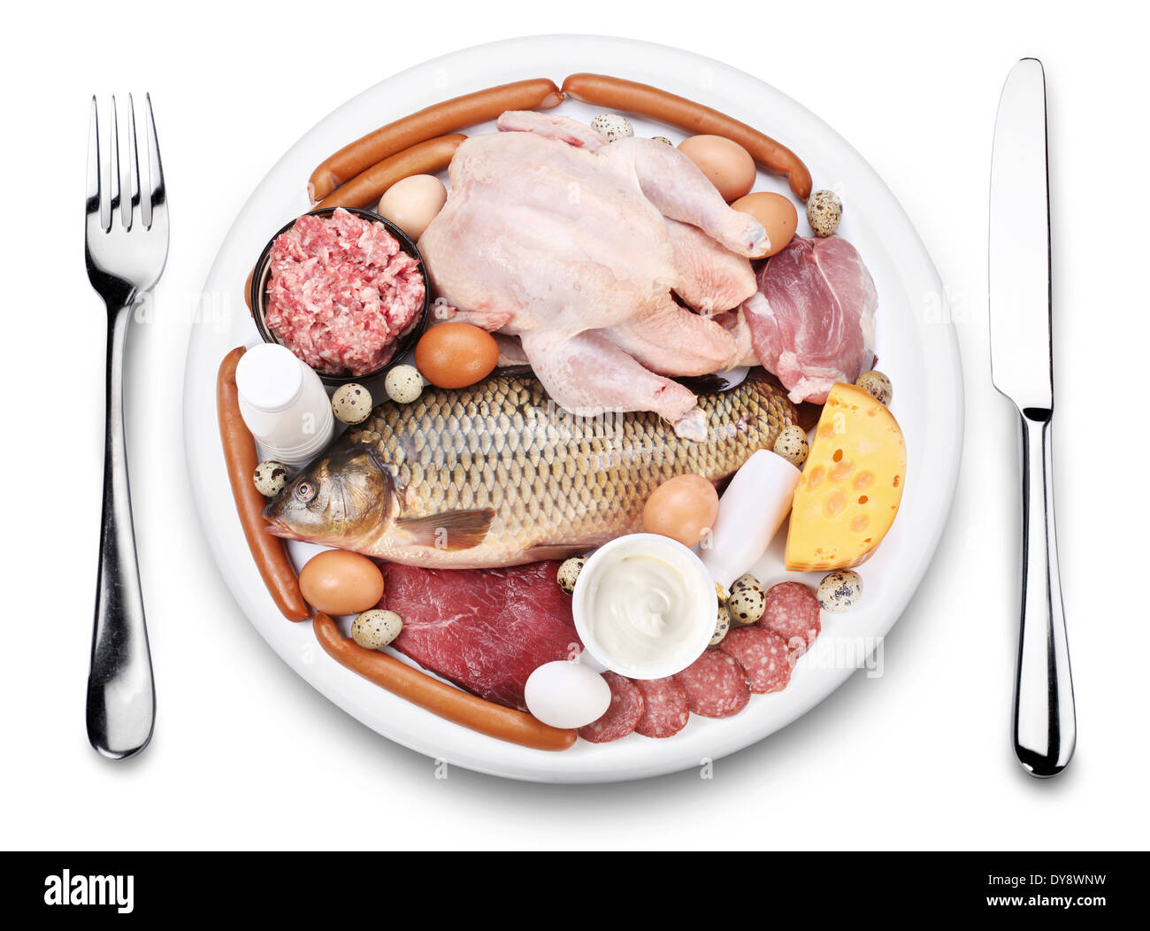 Raw meat and dairy products on a plate. View from above, on a white background. - Stock Image