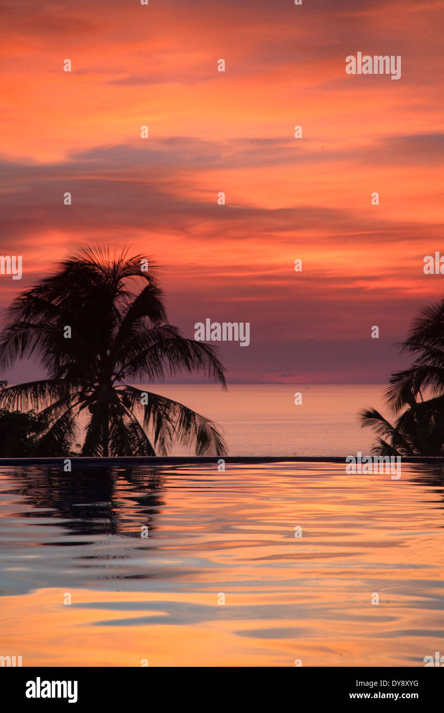 Philippines, Visayas, Boracay Island, Resort overlooking White Beach - Stock Image