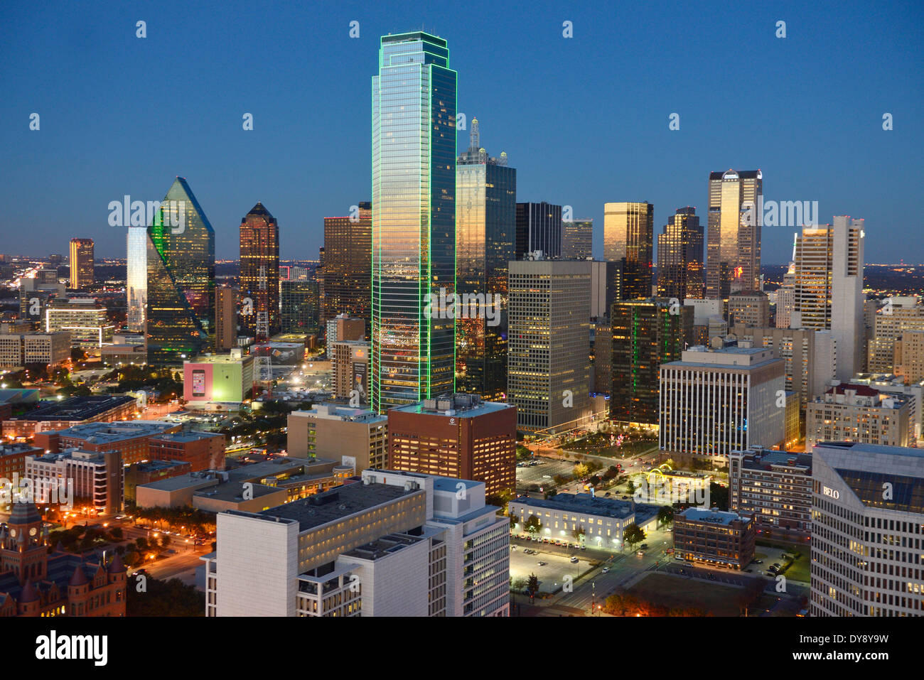 North America Texas USA United States America Dallas skyline skyscraper downtown dusk city glow urban nightscape buildings, - Stock Image