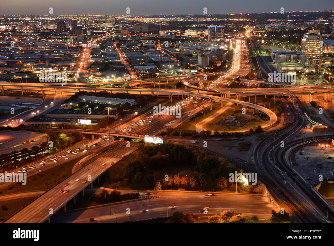North America, Texas, USA, United States, America, Dallas, freeway, street, urban, sprawl, urban, night, traffic, lights - Stock Image