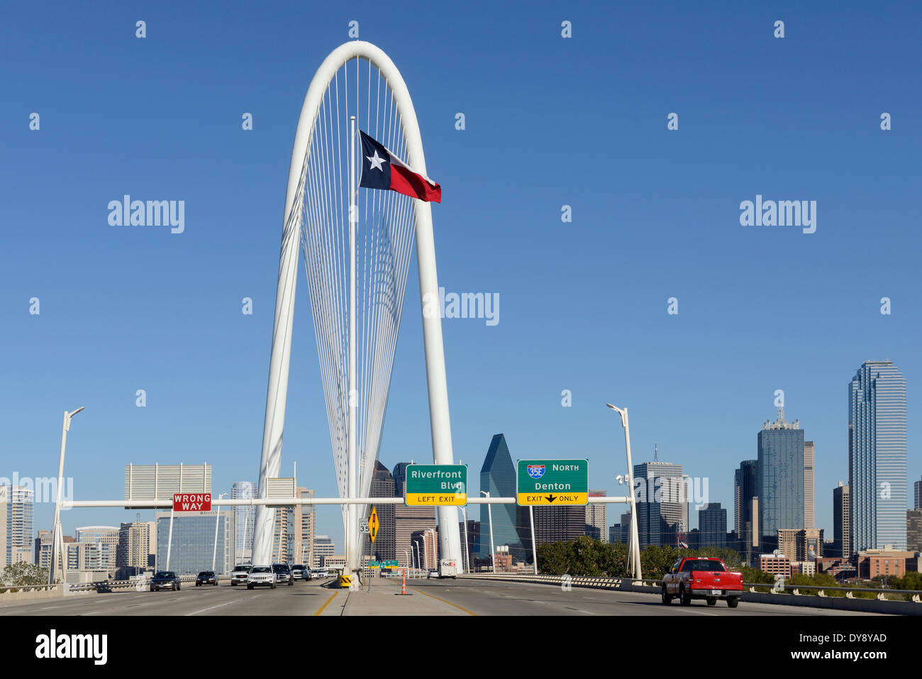North America, Texas, USA, United States, America, Dallas, Calatrava, Trinity, River, Bridge, modern, architecture, span, - Stock Image