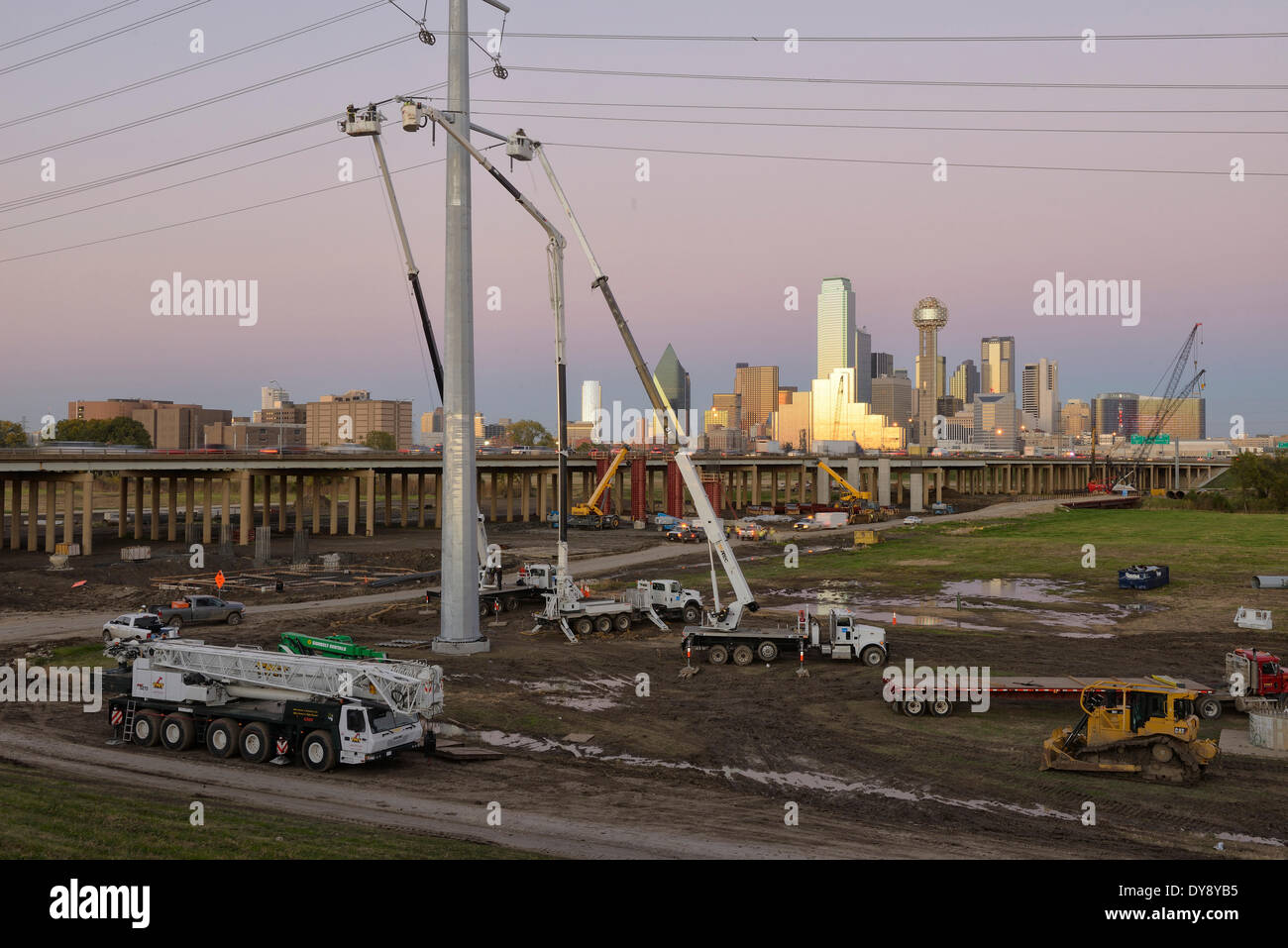 North America, Texas, USA, United States, America, Dallas, power, power lines, construction, work, urban - Stock Image