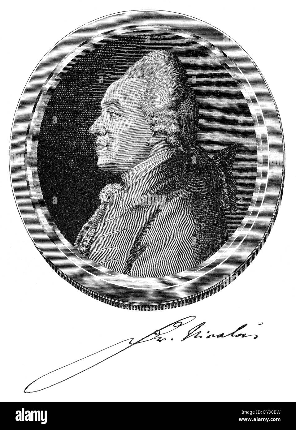 Portrait of Christoph Friedrich Nicolai, 1733 - 1811, a German writer and bookseller, Stock Photo