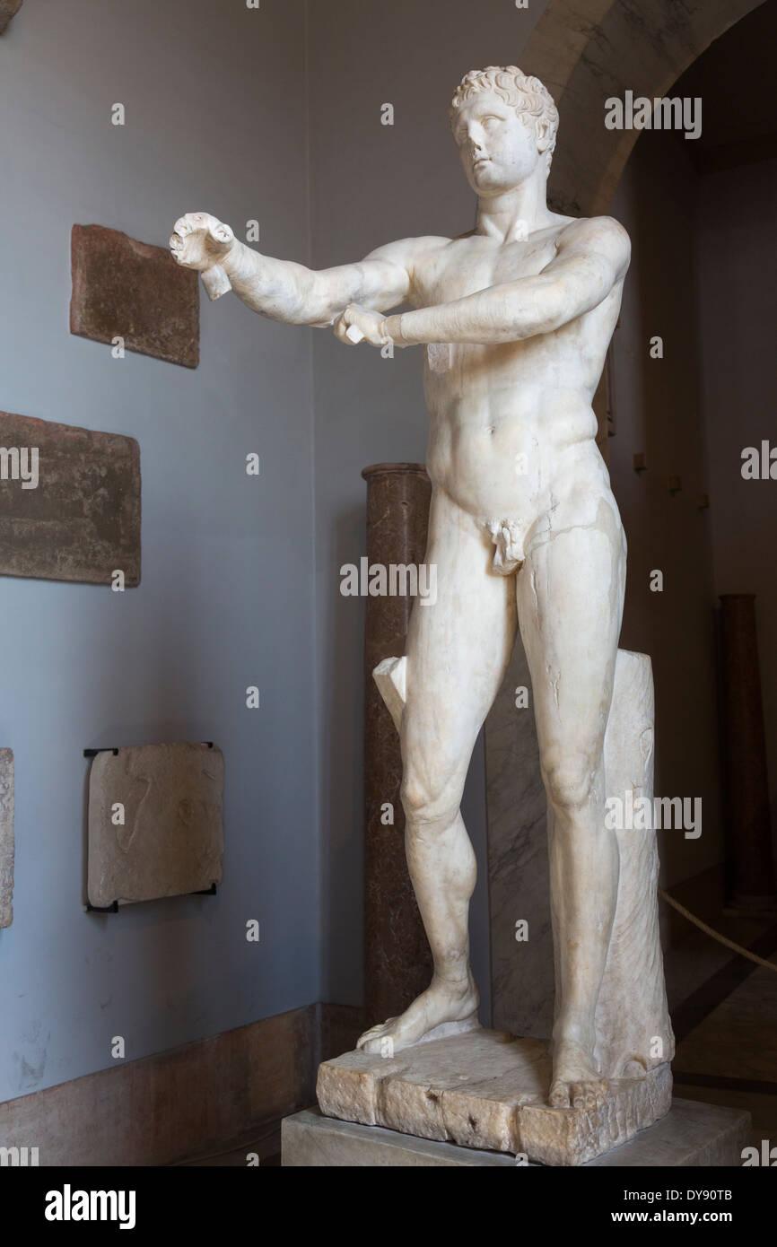 Apoxyomenos (the Scraper), 1st century AD (BC) Roman copy of Greek original by Lysippos, c. 320 BCE, Vatican Museum, Rome Italy - Stock Image
