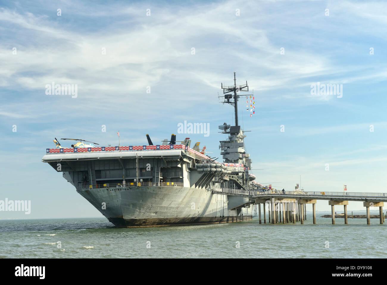 USA, United States, America, Texas, Corpus Christi, USS Lexington, Museum, Aircraft Carrier, ship, military - Stock Image