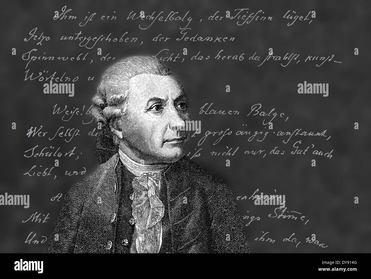 portrait of Friedrich Gottlieb Klopstock, 1724 - 1803, a German poet, - Stock Image