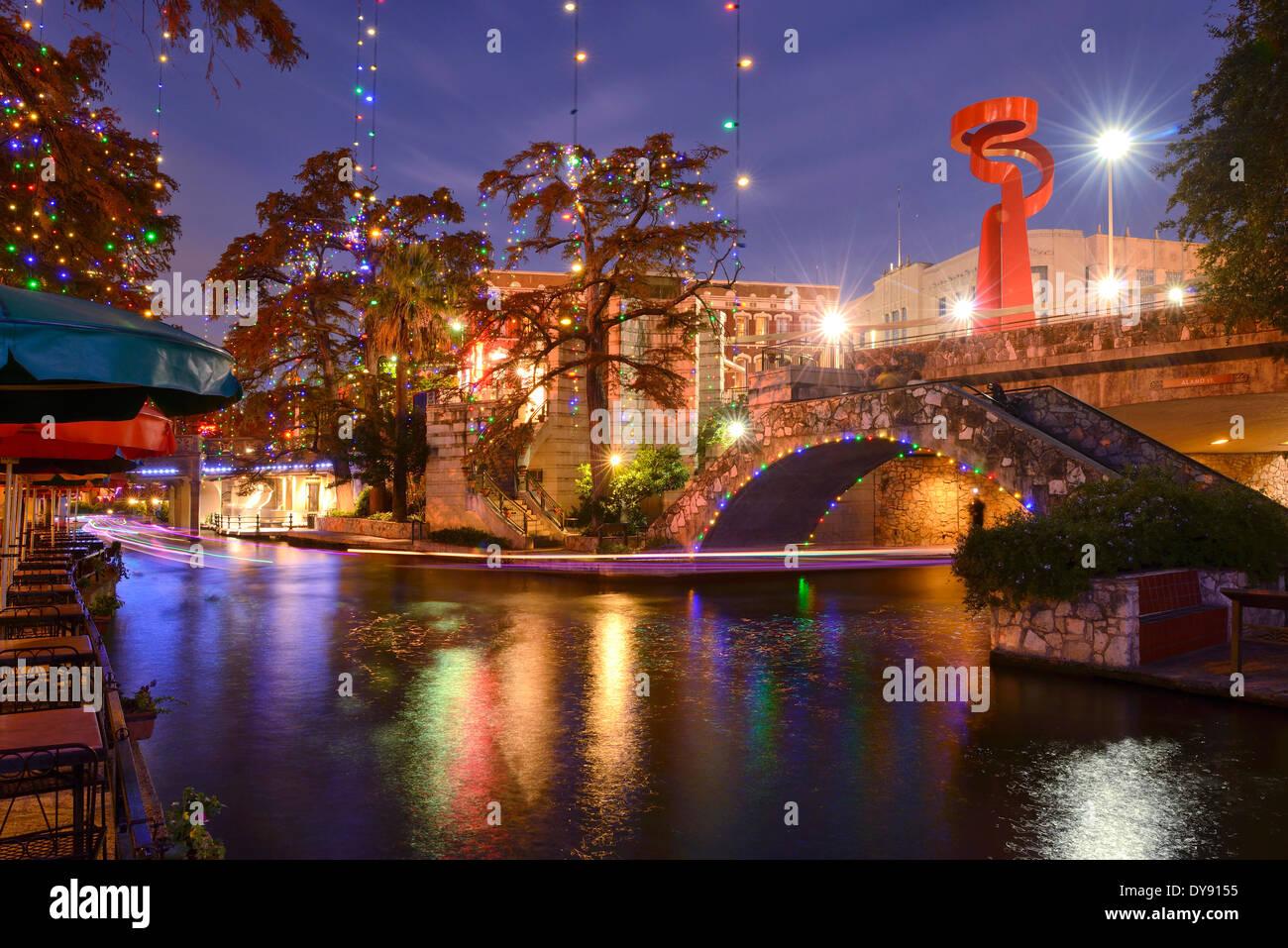 USA, United States, America, Texas, San Antonio, River Walk, dusk, lights, evening - Stock Image