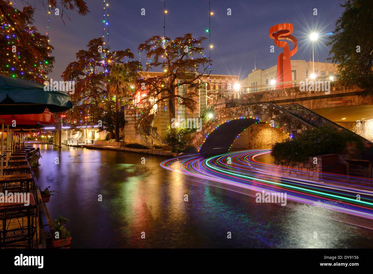 USA, United States, America, Texas, San Antonio, River Walk, dusk, river, city, evening, lights - Stock Image