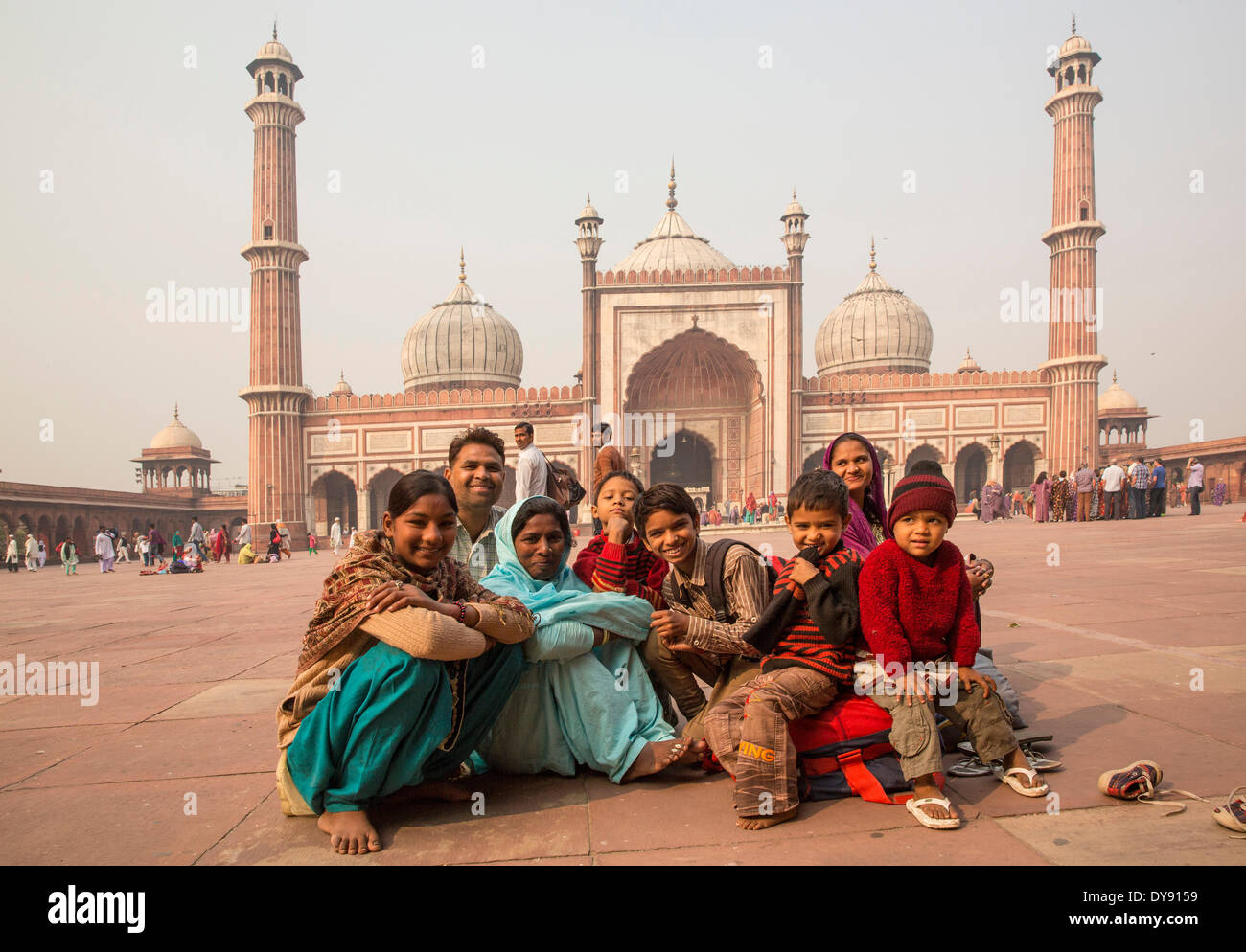 Jama Masjid mosque Old Delhi Delhi masterpiece Mogul's architecture Asia church religion towers place people group Indian, - Stock Image