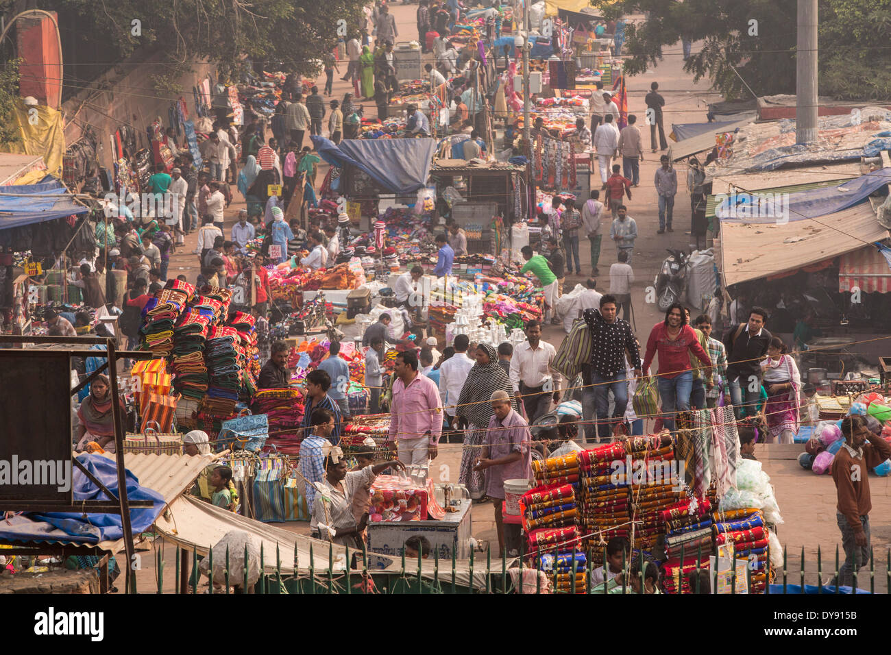 street, Delhi, Asia, town, city, market, person, many, - Stock Image