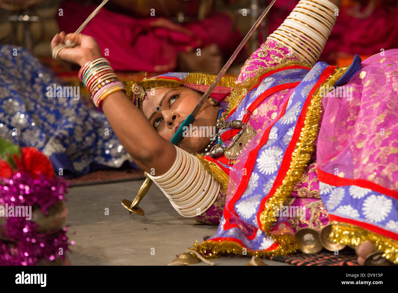Dance performance show museum Bagore Ki Haveli Udaipur Rajasthan Asia India tradition folklore traditional national Stock Photo