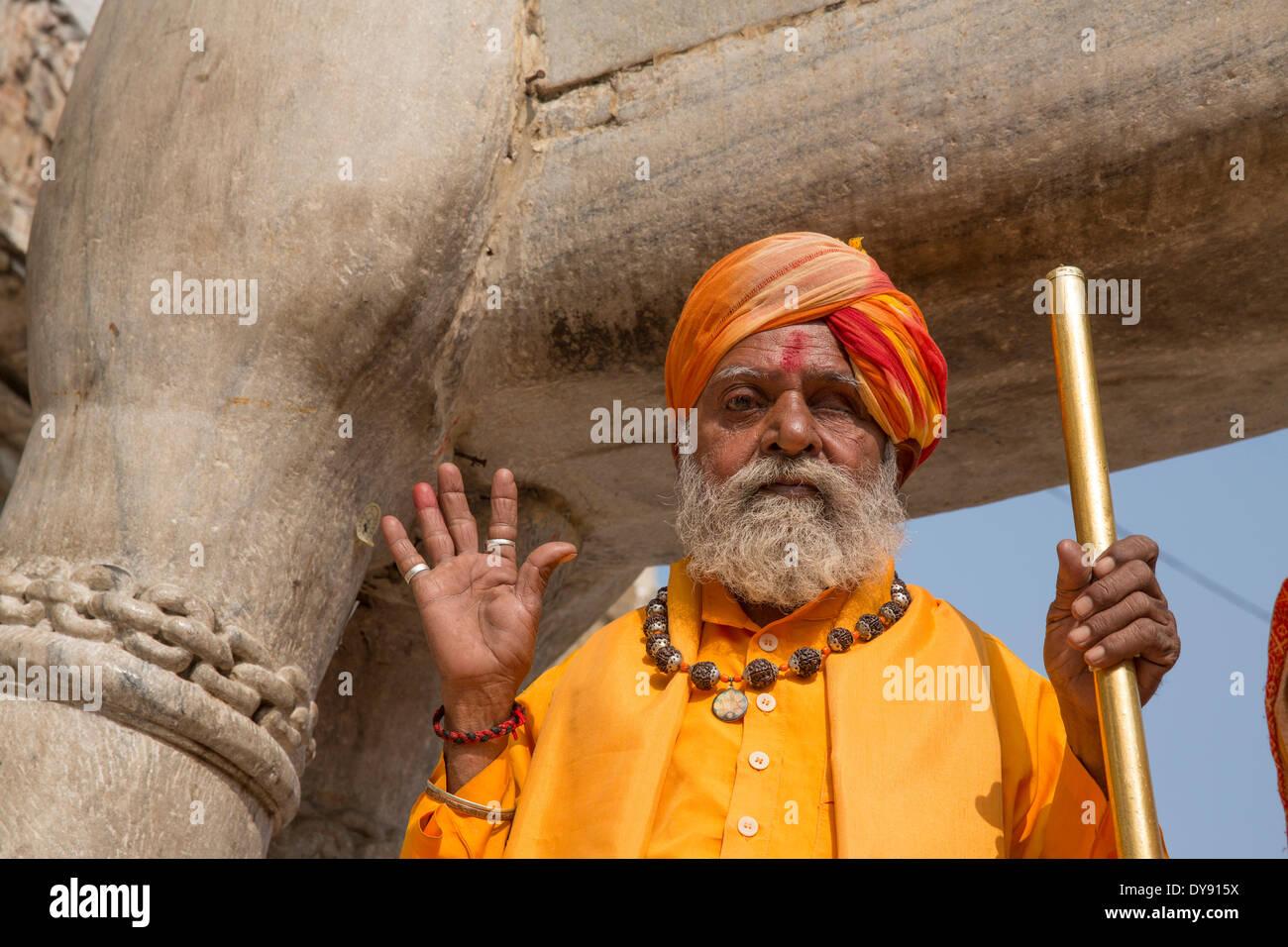 Man, Hindu, Jagdish, temple, Udaipur, Rajasthan, Asia, church, religion, India, - Stock Image